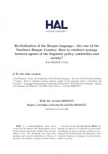 Revitalization of the Basque language: the case of the Northern ...