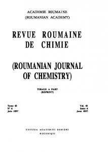 revue roumaine de chimie (roumanian journal of ...