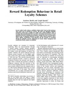 Reward Redemption Behaviour in Retail Loyalty ... - Wiley Online Library
