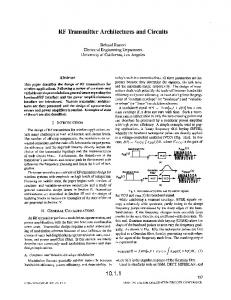 RF transmitter architectures and circuits - Custom Integrated Circuits ...