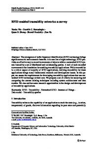 RFID enabled traceability networks: a survey - Faculty of Science and ...