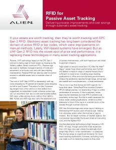 RFID for Passive Asset Tracking - Alien Technology