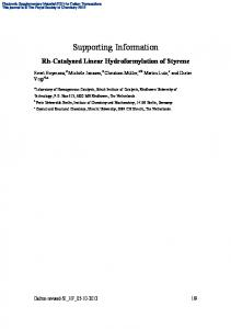 Rh-Catalyzed Linear Hydroformylation of Styrene