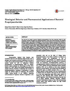 Rheological Behavior and Pharmaceutical Applications of Bacterial