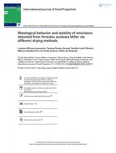 Rheological behavior and stability of emulsions ...