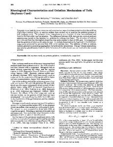Rheological Characteristics and Gelation Mechanism of Tofu ...