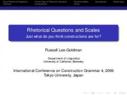 Rhetorical Questions and Scales - Just what do you think ... - Description