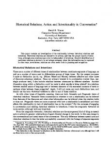 Rhetorical Relations, Action and Intentionality in ... - Semantic Scholar