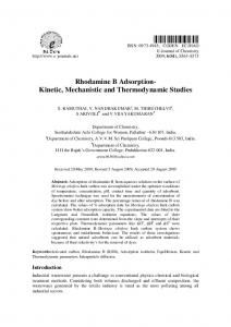Rhodamine B Adsorption- Kinetic, Mechanistic and ... - Hindawi
