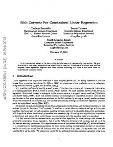 Rich Coresets For Constrained Linear Regression