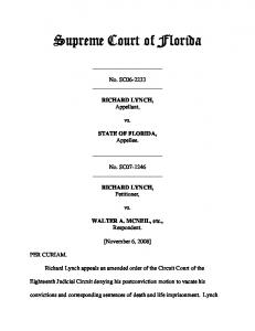 Richard Lynch v. State Of Florida - Florida Supreme Court