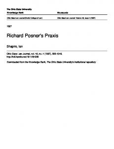 Richard Posner's Praxis - The Knowledge Bank at The Ohio State ...