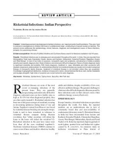 Rickettsial Infections: Indian Perspective - MedIND