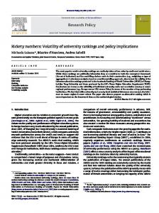 Rickety numbers: Volatility of university rankings and ... - Andrea Saltelli
