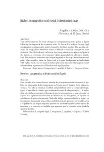 Rights, Immigration and Social Cohesion in Spain