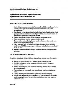 Rights Under the Agricultural Labor Relations Act