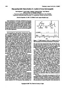 Ring-opening Bulk Polymerization of l-Lactide in ... - CSJ Journals