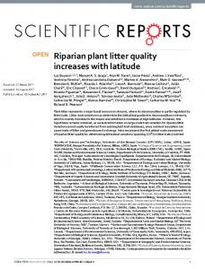 Riparian plant litter quality increases with latitude