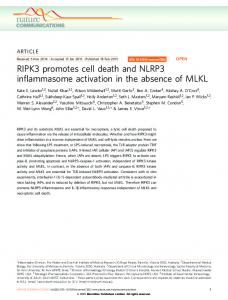 RIPK3 promotes cell death and NLRP3 inflammasome ... - Nature