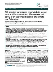 Risk adapted transmission prophylaxis to prevent vertical HIV-1 ...