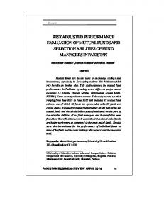 risk adjusted performance evaluation of mutual funds and selection