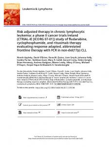 Risk adjusted therapy in chronic lymphocytic ...