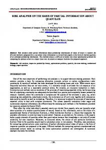 risk analysis on the basis of partial information about ... - CiteSeerX