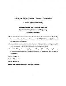Risk and Expectation in Multi-Agent Contracting - Magnet: Multi AGent ...