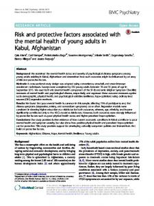 Risk and protective factors associated with the