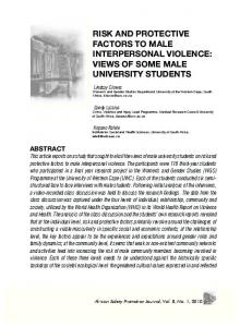 risk and protective factors to male interpersonal violence - CiteSeerX