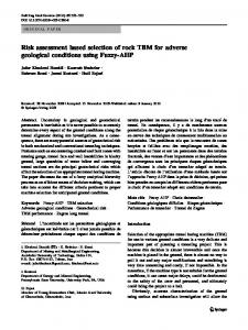 Risk assessment based selection of rock TBM for ... - Springer Link