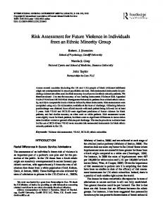 Risk Assessment for Future Violence in Individuals from an Ethnic ...