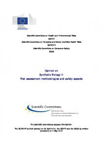 Risk assessment methodologies and safety aspects - European ...