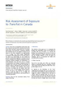 Risk Assessment of Exposure to Trans Fat in Canada - InTechOpen