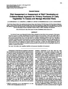 Risk Assessment or Assessment of Risk ... - Journal of Food Protection