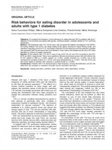 Risk behaviors for eating disorder in adolescents