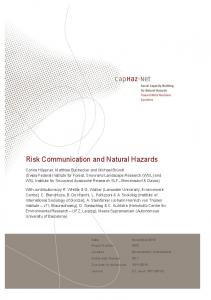 Risk Communication and Natural Hazards