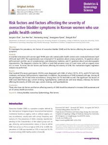 Risk factors and factors affecting the severity of overactive bladder ...