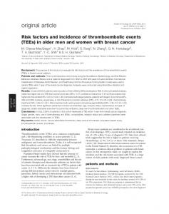 Risk factors and incidence of thromboembolic events (TEEs) in older ...