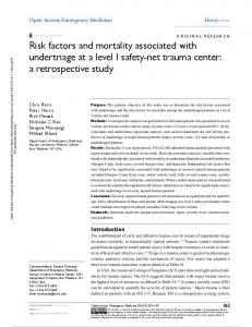 Risk factors and mortality associated with undertriage ...
