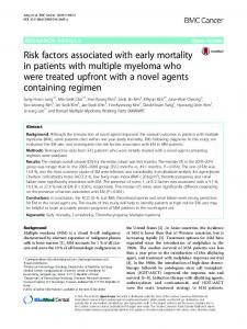 Risk factors associated with early mortality in patients with multiple ...