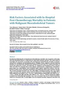 Risk Factors Associated with In-Hospital Post-Chemotherapy Mortality ...