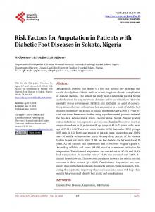 Risk Factors for Amputation in Patients with Diabetic ...