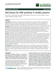 Risk factors for ANA positivity in healthy persons - Arthritis Research ...