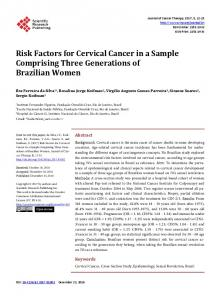 Risk Factors for Cervical Cancer in a Sample Comprising Three ...