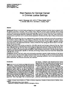 Risk Factors for Cervical Cancer in Criminal Justice Settings