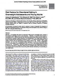 Risk Factors for Disordered Eating in Overweight