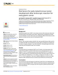 Risk factors for early metachronous tumor