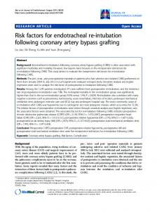 Risk factors for endotracheal re-intubation