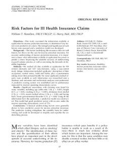 Risk Factors for Ill Health Insurance Claims - The American Academy ...